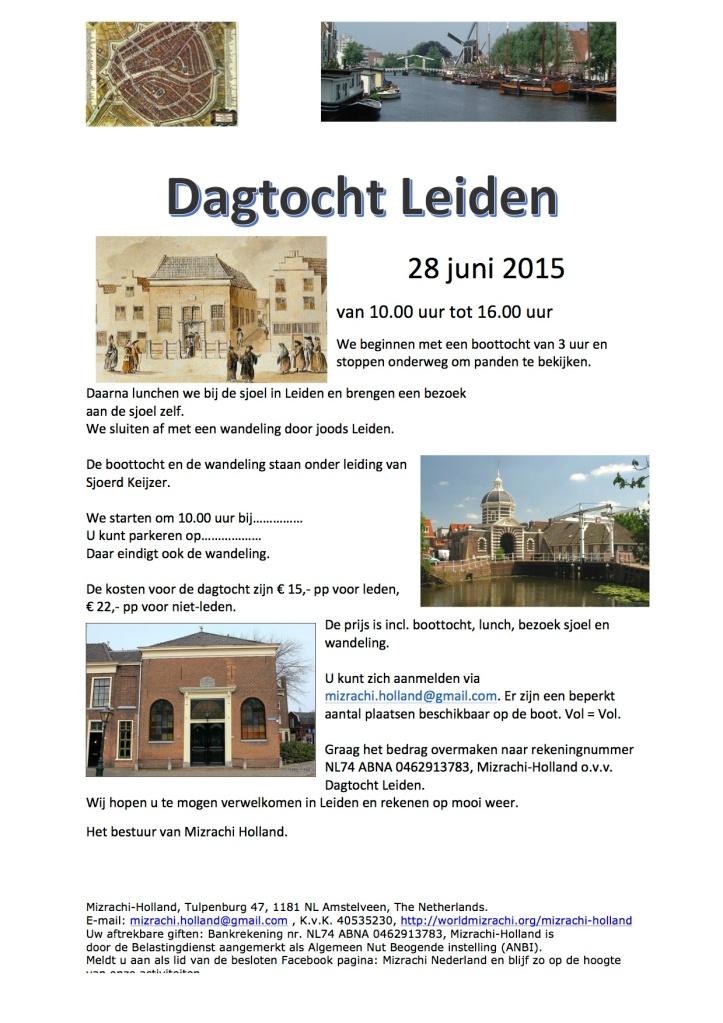 Flyer dagtocht Leiden Mizrachi Holland